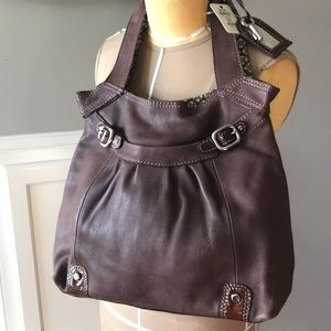 Vintage Fossil Leather Luxe Travel Tote, Espresso